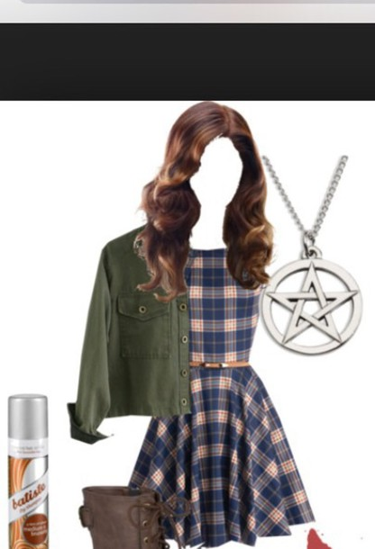 dress sam sam winchester winchester supernatural genderbent cosplay female belt plaid dress plaid dress