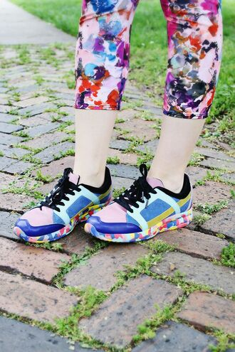 shoes rainbow running athletic colorful multi colored foam watercolor colorblock shoes rainbow shoes running shoes workout