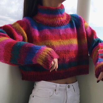 sweater fall trend unif t-shirt colorful couleur cropped cropped sweater winter sweater fall sweater trendy school uniform rainbow pull revolve clothing comfy fall colors winter colors fall outfits winter outfits