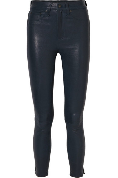 Rag & Bone pants skinny pants high leather navy