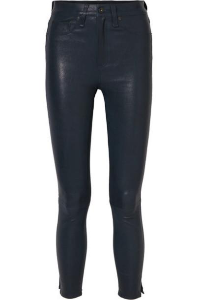 pants skinny pants high leather navy