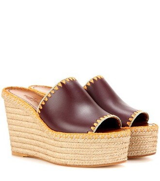 sandals wedge sandals leather red shoes
