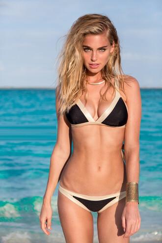 top bikini top black gold luli fama triangle bikiniluxe