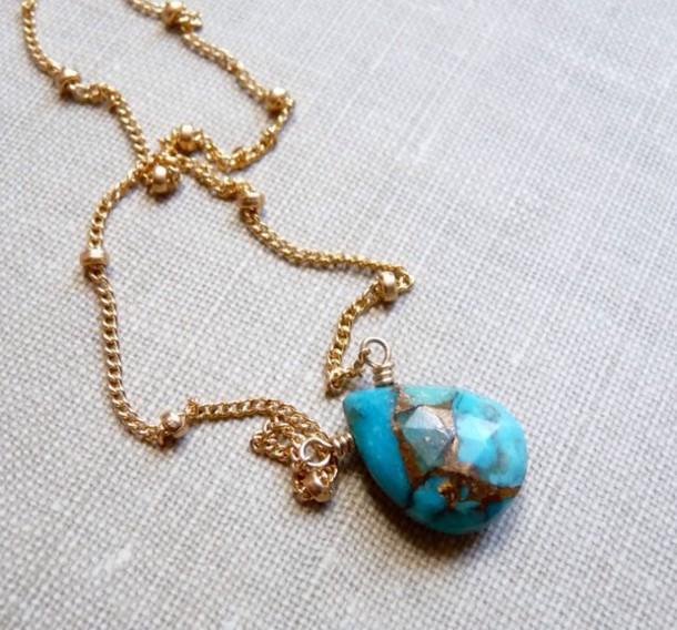 jewels turquoise necklace gold