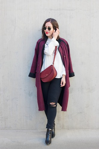 adventures in fashion blogger coat top jeans shoes bag sunglasses jewels