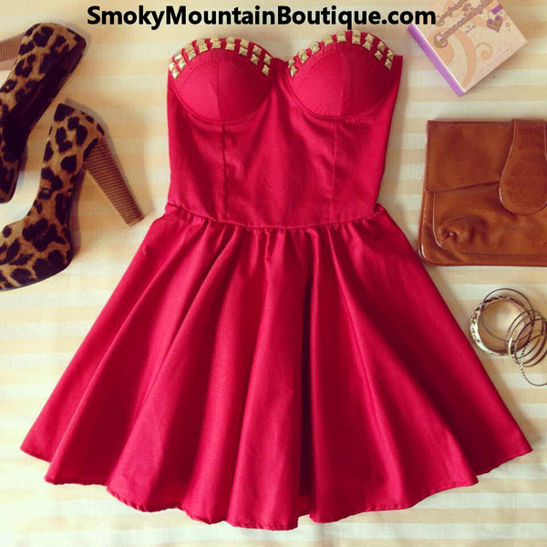 dress bustier dress red dress sexy dress short party dresses short prom dress short dress prom dress dress with studs red red prom dress short red dress short red cute dress