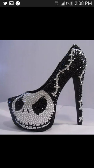 halloween skull shoes diamonds high heels shoes