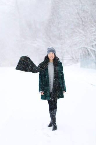 refined couture blogger coat sweater pants shoes hat scarf beanie green coat knee high boots winter outfits
