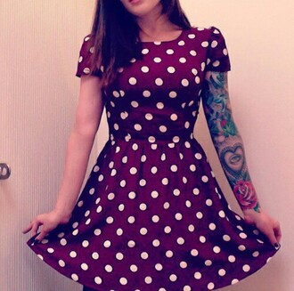 dress red pin up pokadot spotted white fit and flare scoop neck cute burgundy burgundy dress