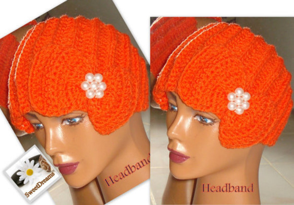 orange hair accessories hair band button headband pearly orange headband girl women gifts new year gifts