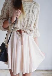 sweater,pastel,cute,pink,beige,knitted sweater,knitwear,skirt,girly,pastel pink,oversized sweater,beije,short skirts,knot tie,light pink,peach,off-white,flowy,midi skirt,mini skirt