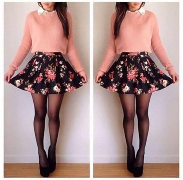 Floral Short Cute Hispter Swag Girl Girly Outfit Vintage Pink