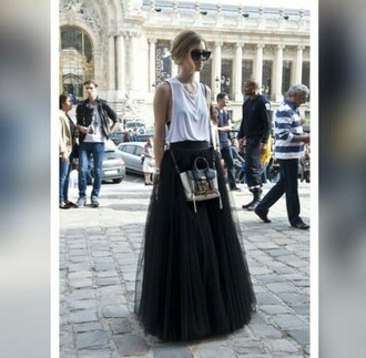 skirt black tank top the blonde salad chiara ferragni blogger style fashion tulle skirt