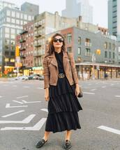 skirt,midi skirt,black skirt,pleated skirt,ruffle,mules,black blouse,suede jacket,shoulder bag,belt,sunglasses