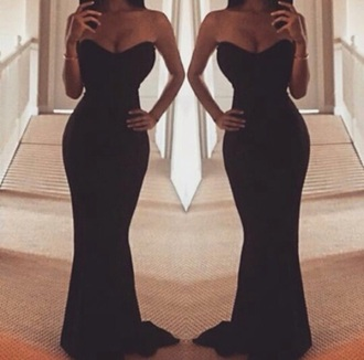 dress black black dress long prom dress prom dress prom gown strapless dresses