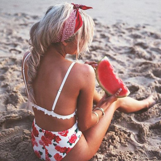 swimwear floral roses bikini bottoms high waisted beautiful pretty beach white high waisted bikini