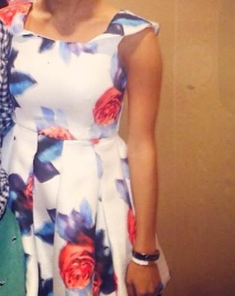 white dress blue dress floral dress orange dress