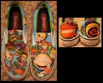 shoes cartoon nickelodeon rugrats hey arnold rocket power rocko's modern life slip on shoes