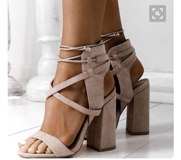 ad76043771b shoes rose pink heels block heel wrap tie around ankle strappy heels block  heel sandals