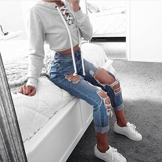jeans sweatshirt cyte cute white shoes shoes top ripped jeans cute outfits sweater
