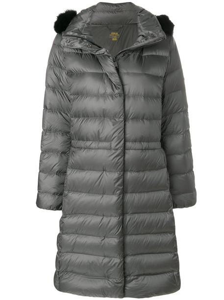 Polo Ralph Lauren coat fur women grey