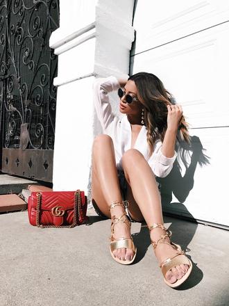 shoes tumblr shirt sandals flat sandals gold sandals bag red bag gucci gucci bag white shirt sunglasses pompon earrings