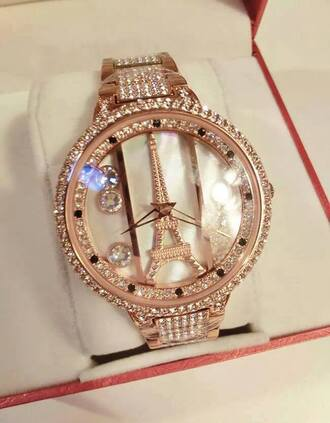 jewels eiffel tower watch gold paris