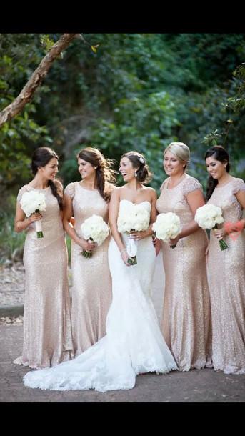 Bridesmaid Champagne Dress Bridesmaid Nude Glitter Dress