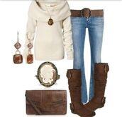 shirt,shoulder,shoulder shirt,jeans,denim,boots,belt,fall outfits,winter outfits,november,december,blouse