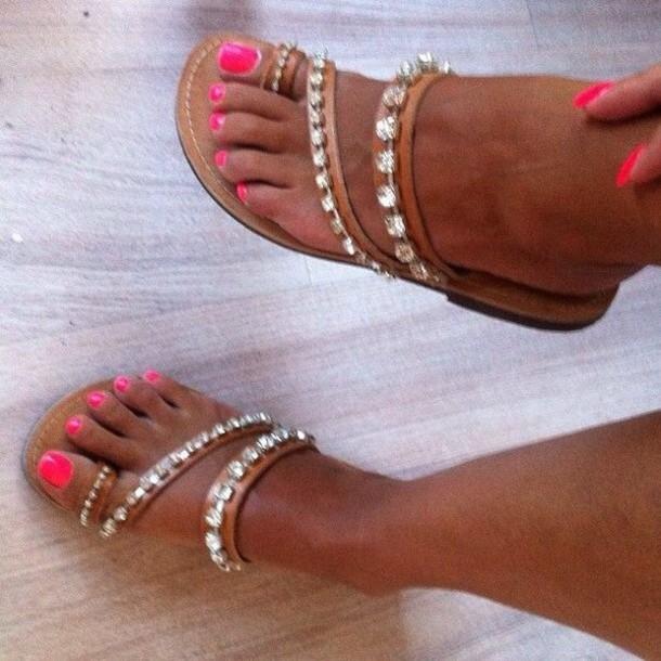 Shoes: flat sandals, nail polish, sparkle flip flops ...
