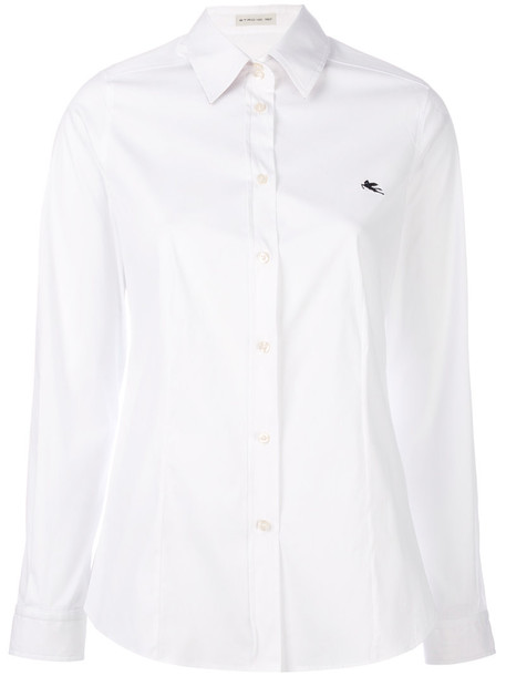 ETRO shirt long women spandex white cotton top