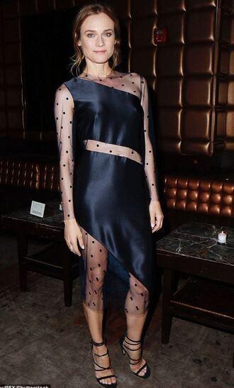 dress asymmetrical asymmetrical dress black dress gown see through dress sandals diane kruger polka dots