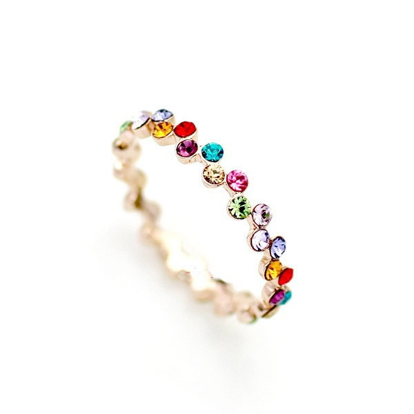 Gold Stacking Ring Crystal Delicate Jewelry - Finger Tip Ring on Luulla