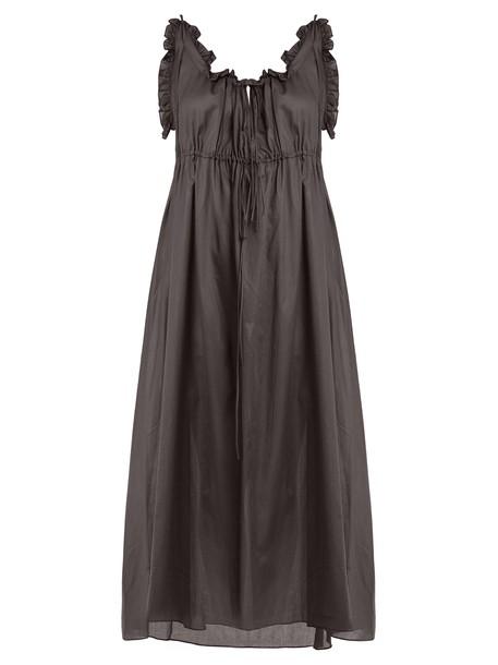 THREE GRACES LONDON Aida ruffle-trimmed cotton nightdress in grey