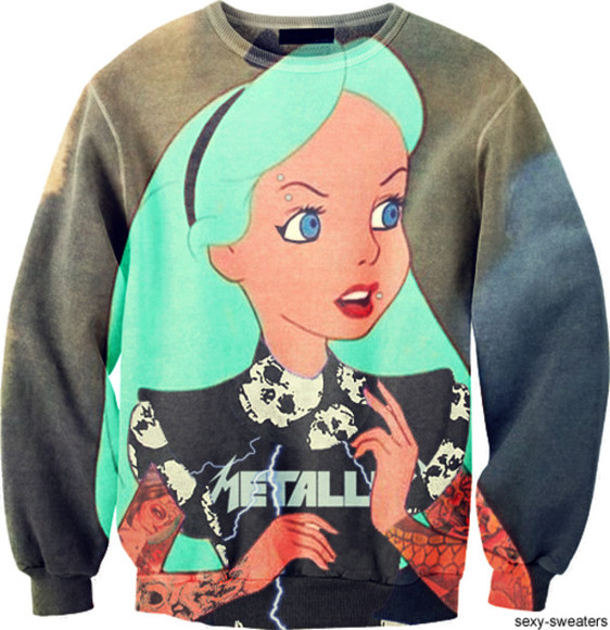 alice in wonderland sweater dark punk metallica sexy hexy fashion türkis skull