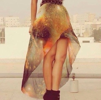 skirt fashion long skirt galaxy skirt mesh netting perfecto