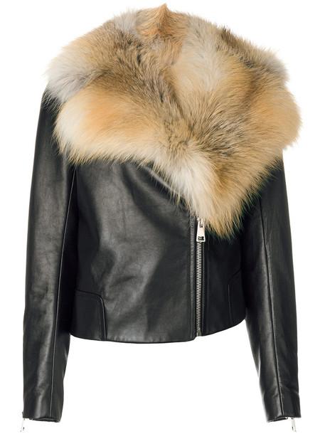lanvin jacket biker jacket fur fox women black