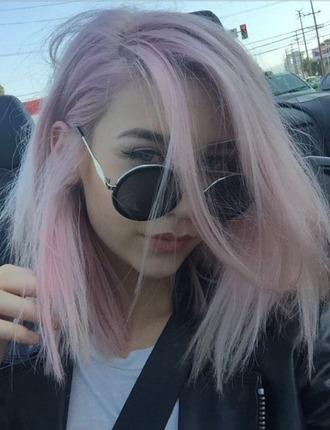 sunglasses grunge accessory makeupbymandy24 pastel hair pink hair