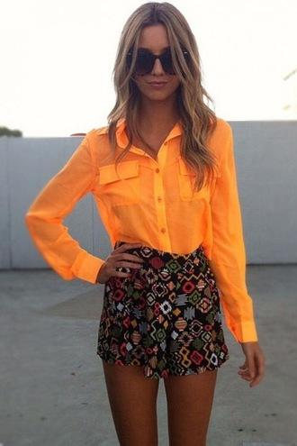 pocket shorts high waisted shorts tribal pattern blouse chiffon neon african print sunglasses tan