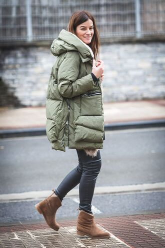jacket green puffer jacket skinny jeans brown boots blogger