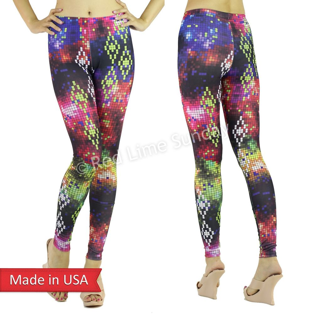 New Women Digital Multi Color Chart Block Square Cute Leggings Tights Pants USA