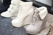 shoes,lace up,white,cute,soft,grey,warm,wedges,grey wedges,boots,ankle boots,suede,suede shoes,suede heels,grey shoes,white wedges