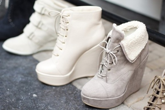 shoes lace up white cute soft grey warm wedges grey wedges boots ankle boots suede suede shoes suede heels grey shoes white wedges