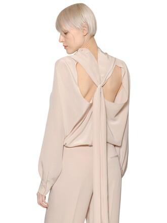 shirt silk beige top
