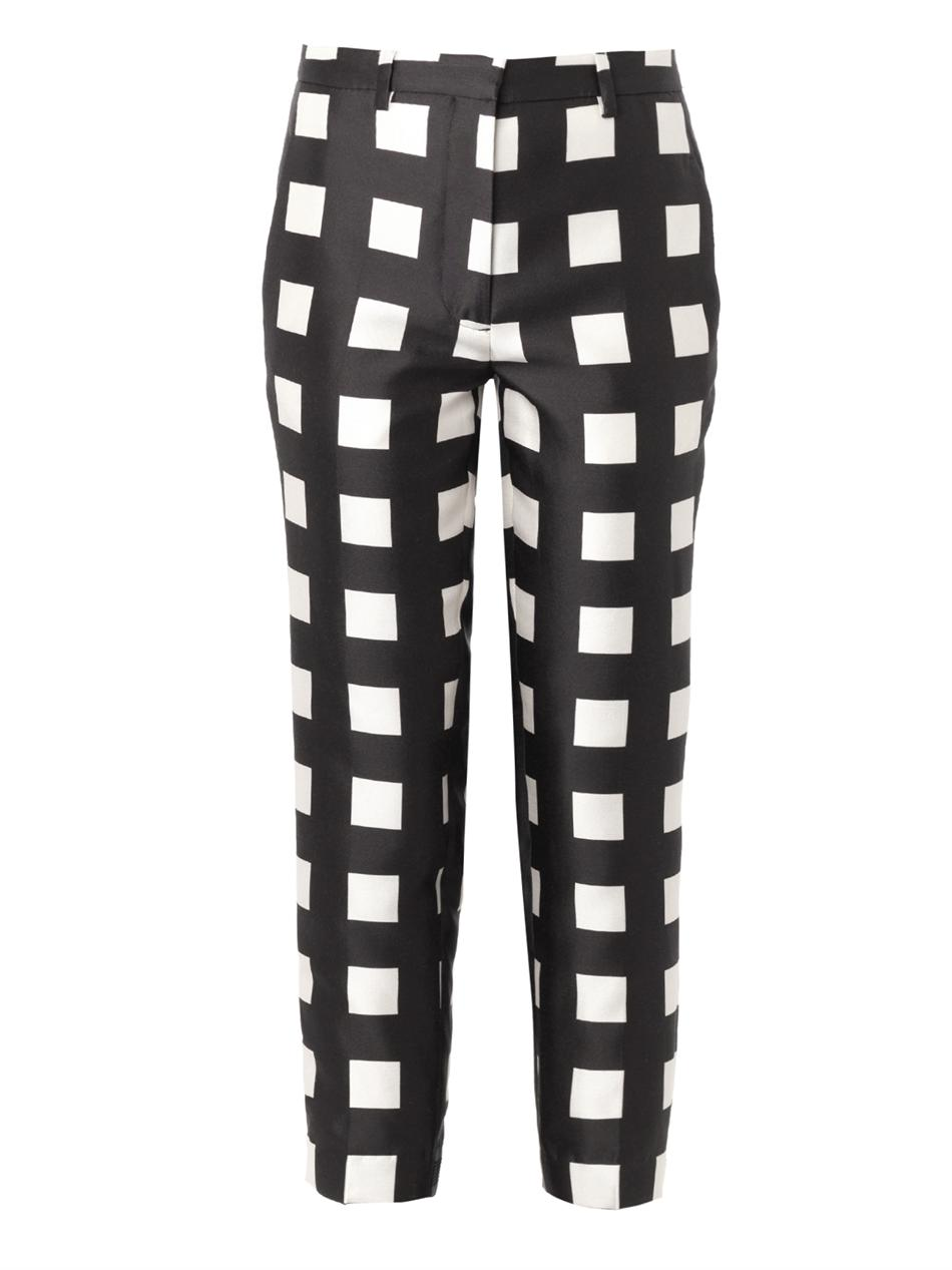 Check-print wool and silk-blend trousers | Rochas | MATCHESFAS...