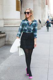 lemon stripes,blogger,shirt,skirt,tights,shoes,jewels,coat,opaque tights,plaid,flannel shirt,flannel,tartan,mini skirt,sunglasses