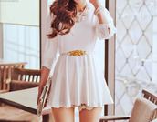 dress,white dress,flowing dress,tight top,short dress,cute,lovely dress,white short dress,summer dress,dinner dress,ulzzang,kfashion probably,jewels,belt