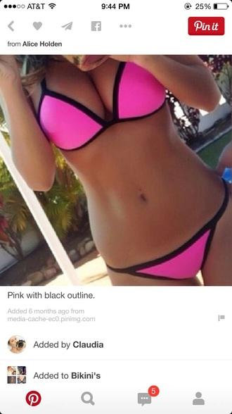 swimwear pink bikini bikini top bikini bottoms black bikini pink bikini