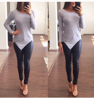 shirt grey asymmetrical top