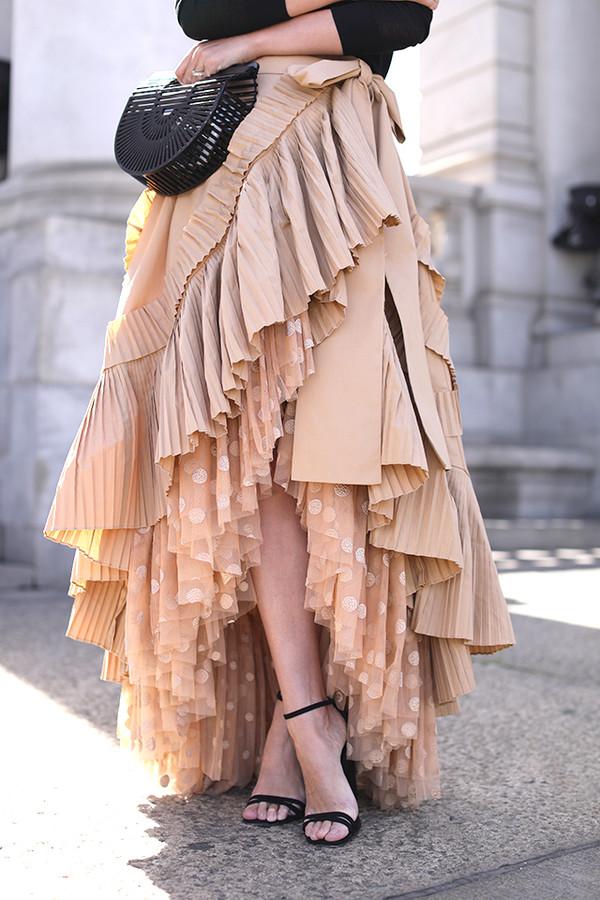 Skirt: tumblr, maxi skirt, nude skirt, asymmetrical ...